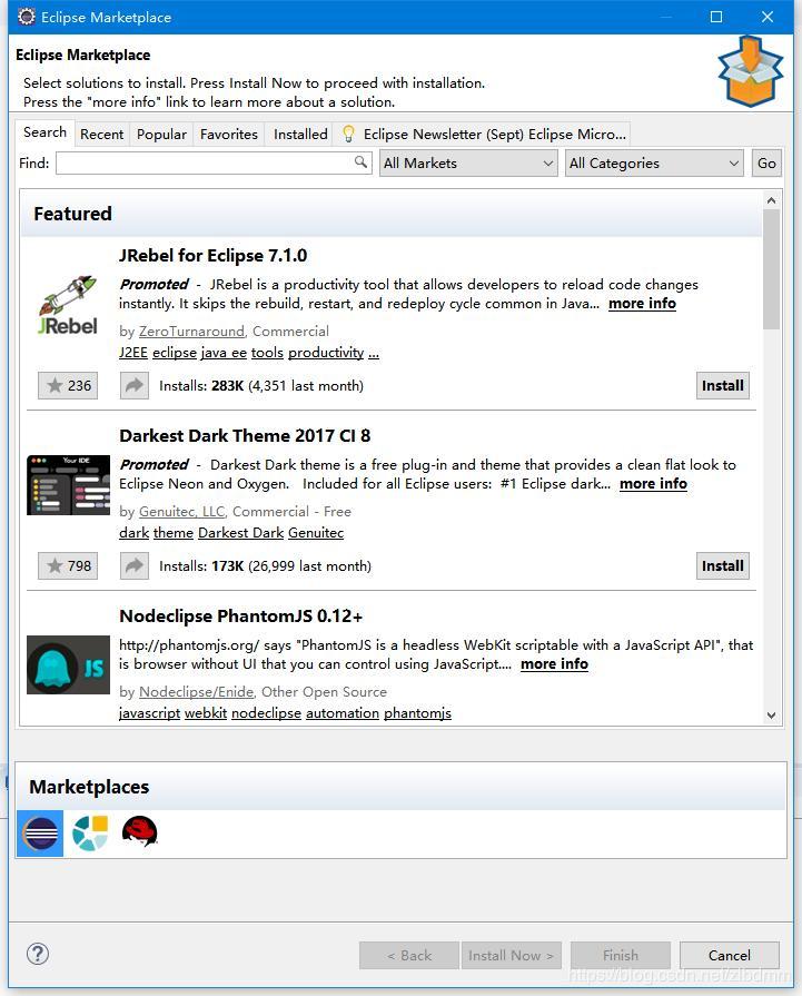 打开Eclipse插件市场对话框